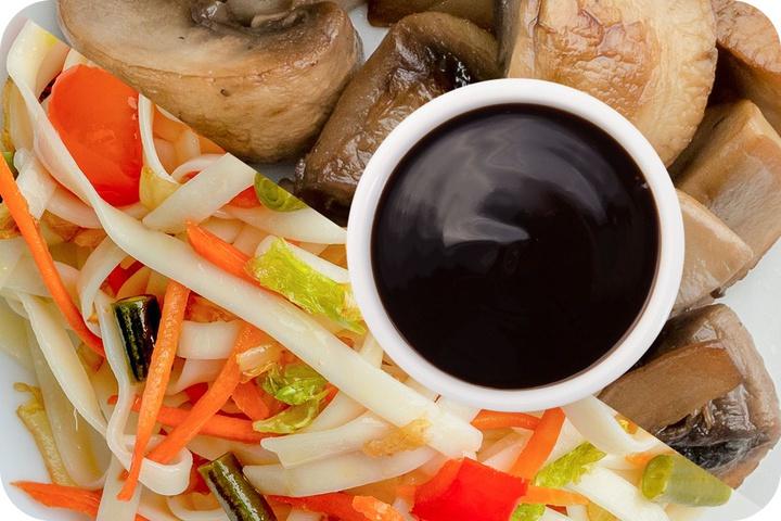 Лапша удон (овощи) + Грибы шампиньоны + Соус Терияки