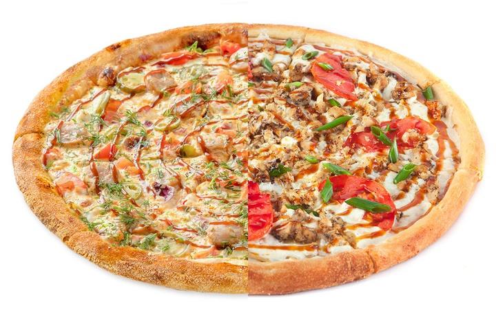 1/2 Пицца с купатами + 1/2 Терияки