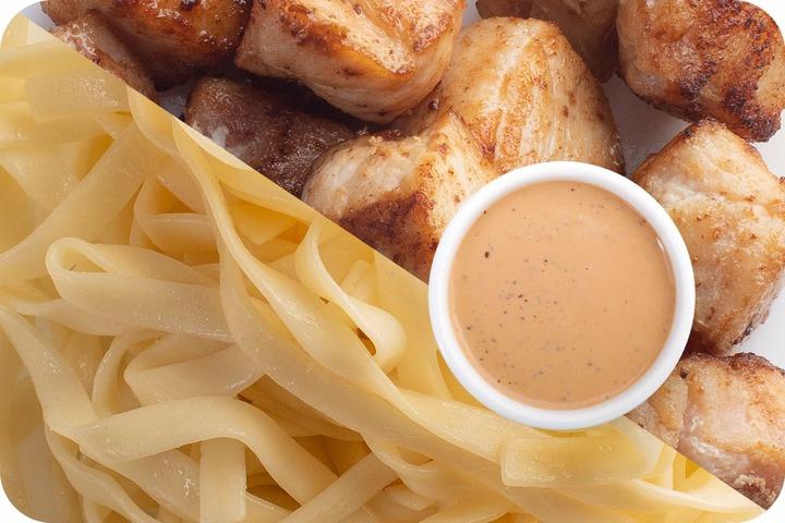 Лапша удон (овощи) + Курица + Соус Гамадари