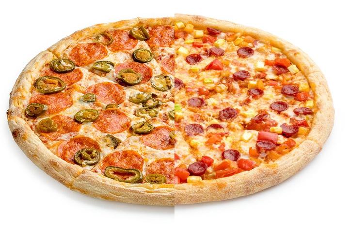 1/2 Пепперони с халапеньо + 1/2 Пицца Лечо