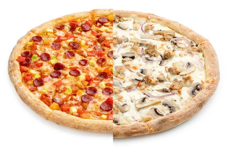 1/2 Пицца Лечо + 1/2 Сливочный цыпленок