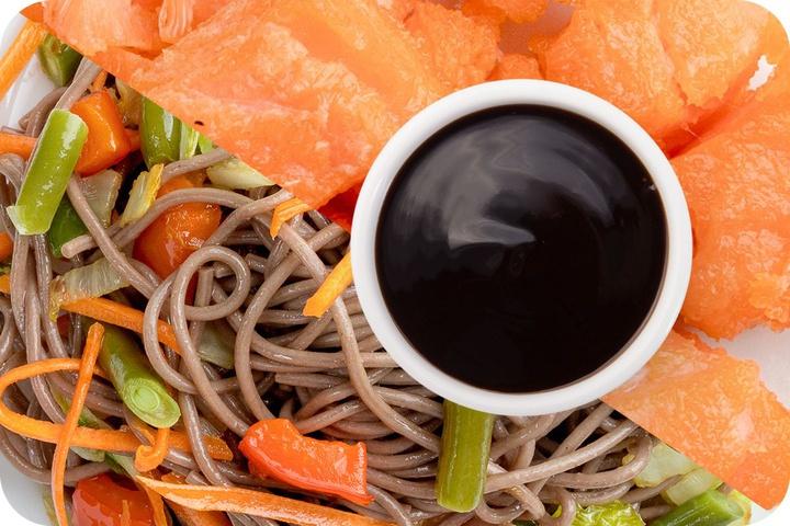 Лапша соба (овощи) + Филе лосося + Соус Терияки