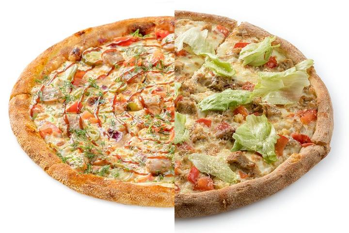 1/2 Пицца с купатами + 1/2 Цезарь