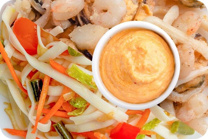 Лапша удон (овощи) + Морепродукты + Сливочный Том ям