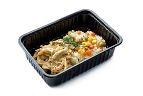 Рис с овощами и курица карри