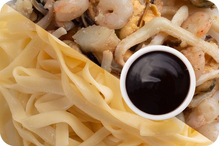 Лапша удон (овощи) + Морепродукты + Соус Терияки