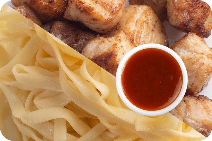 Лапша удон (овощи) + Курица + Остро-сладкий соус