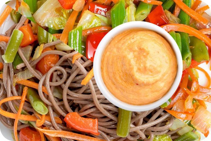 Лапша соба (овощи) + Овощи + Сливочный Том ям