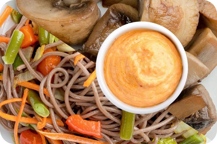 Лапша соба (овощи) + Грибы шампиньоны + Сливочный Том ям