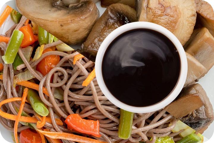 Лапша соба (овощи) + Грибы шампиньоны + Соус Терияки