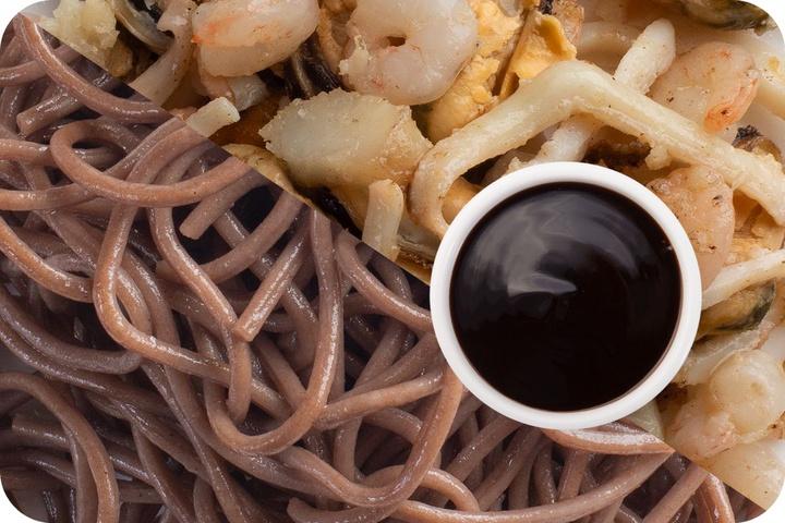 Лапша соба (овощи) + Морепродукты + Соус Терияки