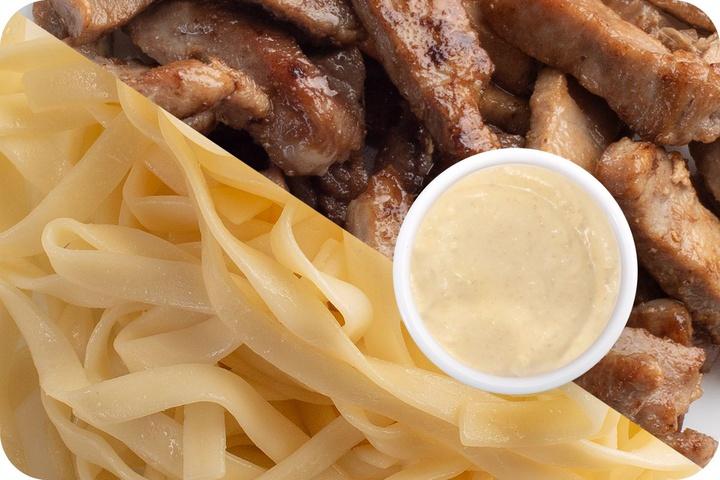Лапша удон (овощи) + Свинина + Соус сливочный Кимчи (острый)
