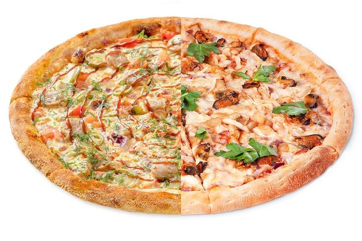1/2 Пицца с купатами + 1/2 Черная Жемчужина