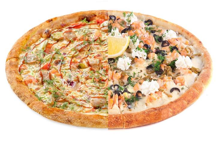 1/2 Пицца с купатами + 1/2 Рыбная