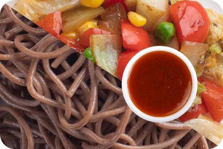Лапша соба (овощи) + Овощи + Остро-сладкий соус