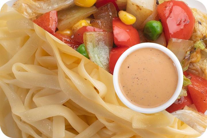 Лапша удон (овощи) + Овощи + Соус Гамадари