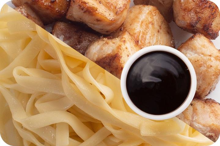 Лапша удон (овощи) + Курица + Соус Терияки