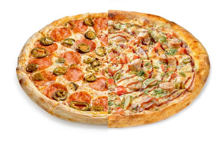 1/2 Пепперони с халапеньо + 1/2 Пицца с купатами