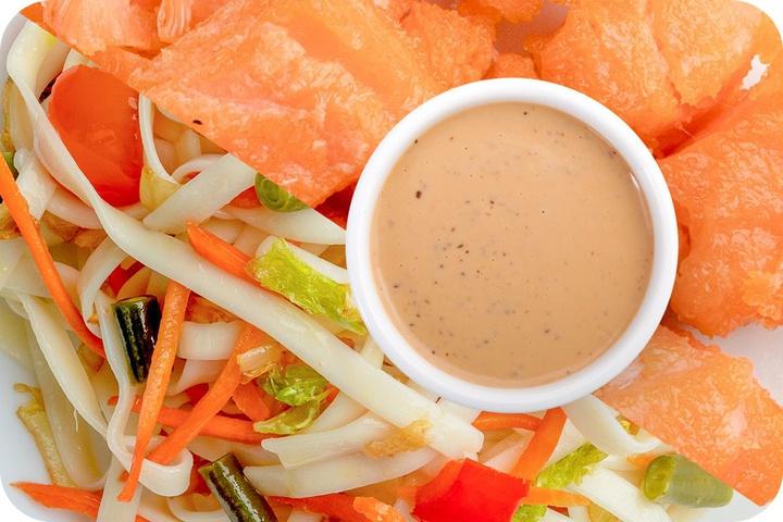 Лапша удон (овощи) + Филе лосося + Соус Гамадари