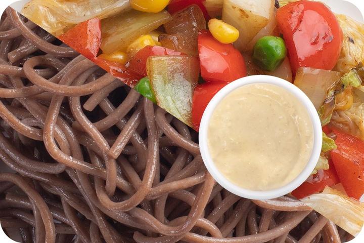 Лапша соба (овощи) + Овощи + Соус сливочный Кимчи (острый)