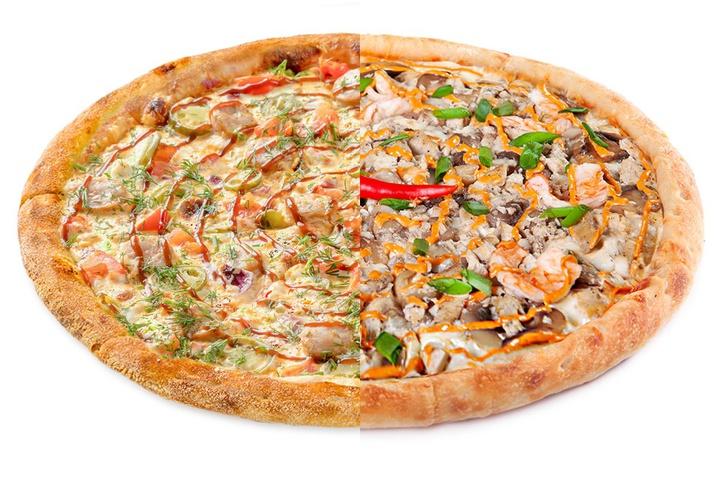 1/2 Пицца с купатами + 1/2 Том-Ям