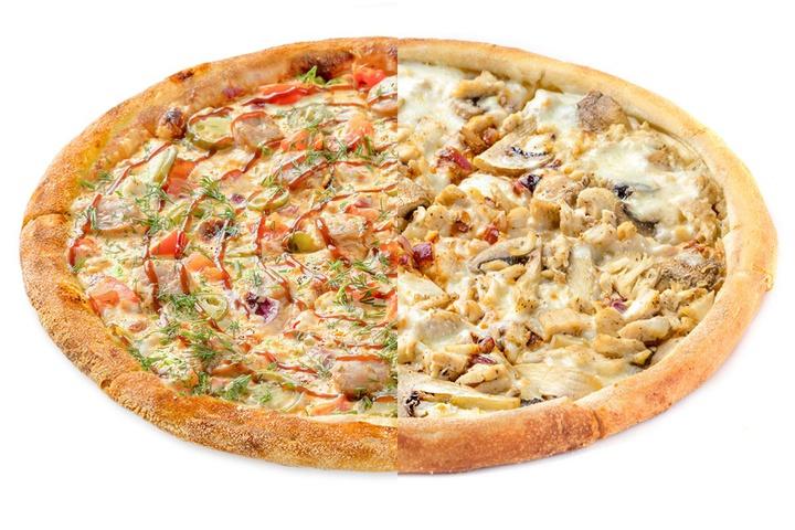 1/2 Пицца с купатами + 1/2 Сливочный цыпленок