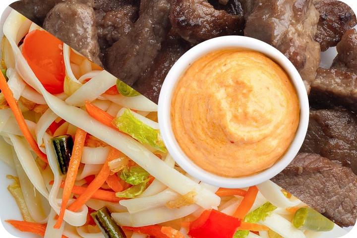 Лапша удон (овощи) + Говядина + Сливочный Том ям