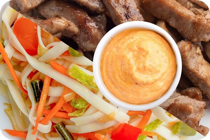 Лапша удон (овощи) + Свинина + Сливочный Том ям