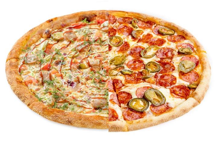 1/2 Пицца с купатами + 1/2 Чоризо с халапеньо
