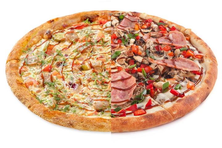 1/2 Пицца с купатами + 1/2 Цыпленок барбекю