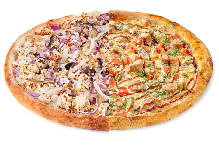 1/2 Курица по-дижонски + 1/2 Пицца с купатами
